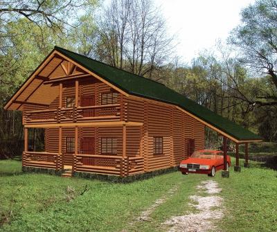 Проект дома из бревна ДБ-119