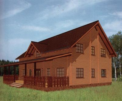 Проект дома из бревна ДБ-124
