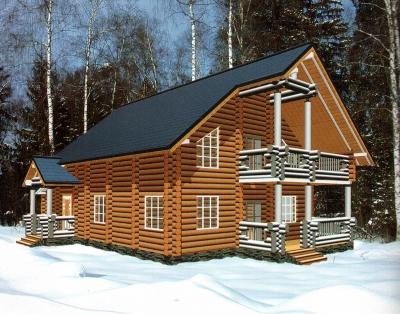 Дом из оцилиндрованного бревна ДБ-126, 276м2