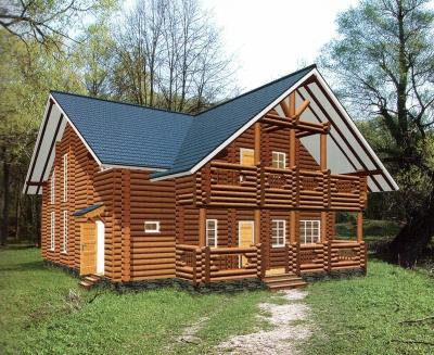 Дом из оцилиндрованного бревна ДБ-128, 285м2