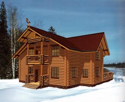 Дом из оцилиндрованного бревна ДБ-132, 300м2