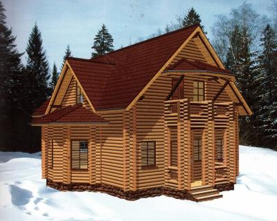 Проект дома из бревна ДБ-32