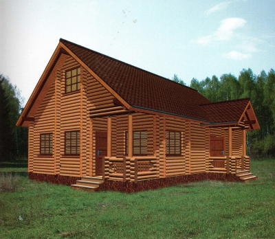 Проект дома из бревна ДБ-33