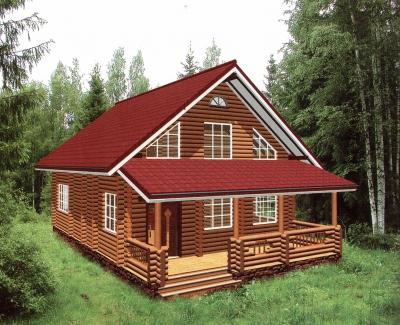 Дом из оцилиндрованного бревна ДБ-41, 180м2