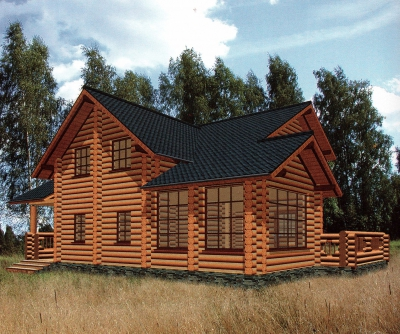 Проект дома из бревна ДБ-52