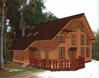 Дом из оцилиндрованного бревна ДБ-53, 245м2