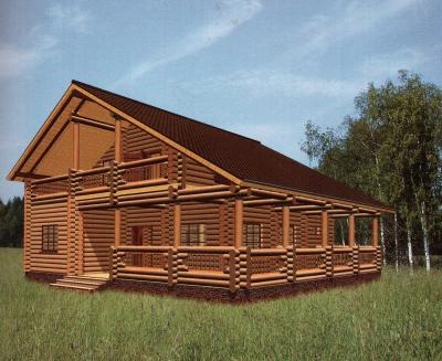 Проект дома из бревна ДБ-54