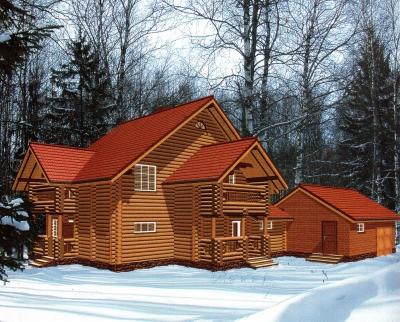 Дом из оцилиндрованного бревна ДБ-64, 324м2