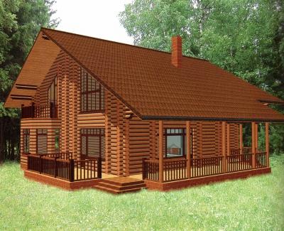 Дом из оцилиндрованного бревна ДБ-68, 359м2