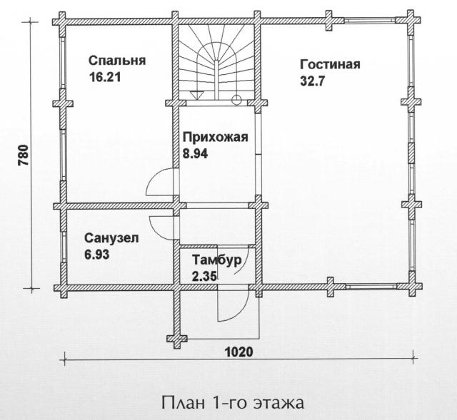 Схема проекта дома из оцилиндрованного бревна ДБ-100