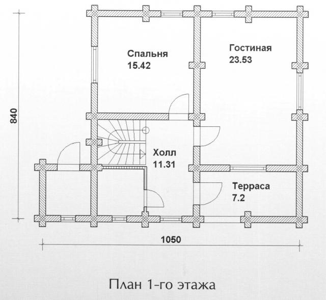 Схема проекта дома из оцилиндрованного бревна ДБ-101