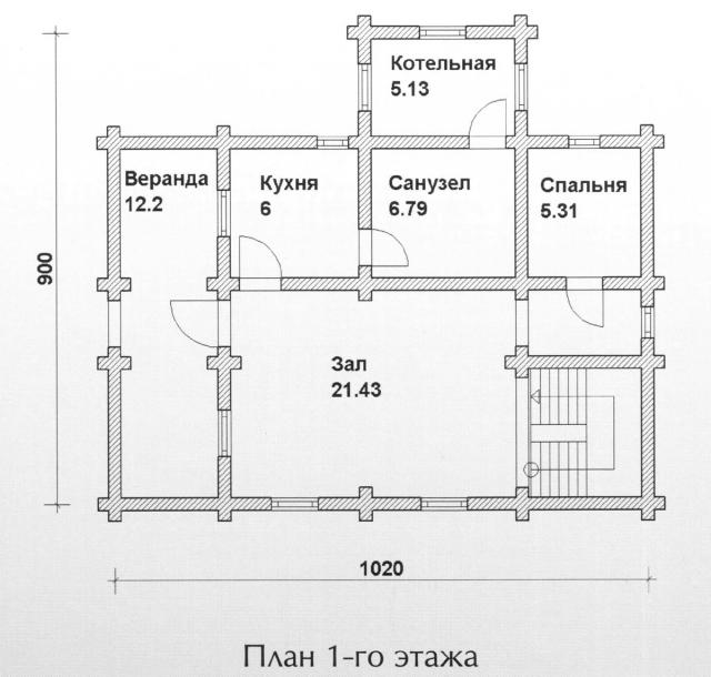 Схема проекта дома из оцилиндрованного бревна ДБ-102
