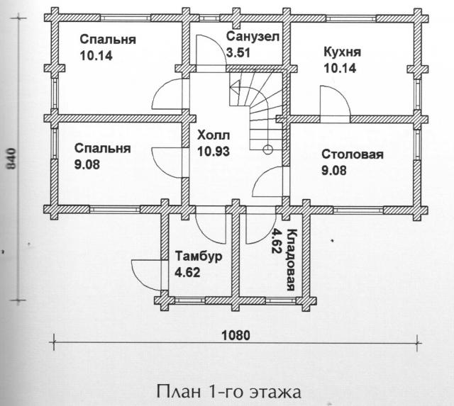 Схема проекта дома из оцилиндрованного бревна ДБ-103