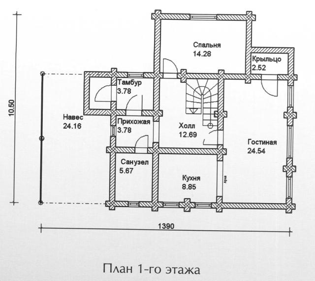 Схема проекта дома из оцилиндрованного бревна ДБ-104
