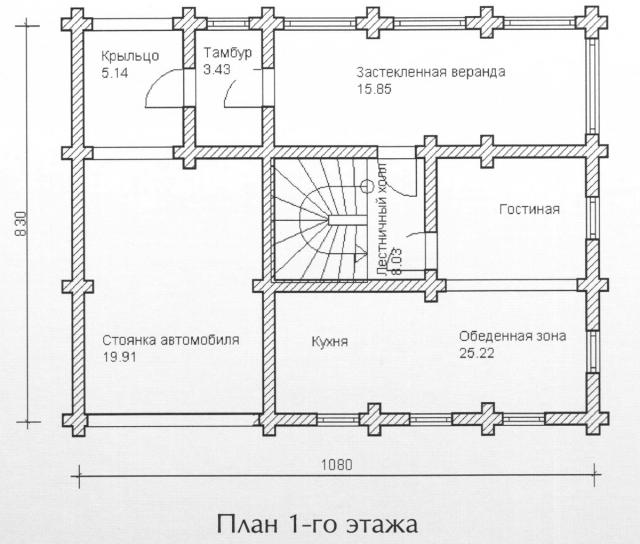 Схема проекта дома из оцилиндрованного бревна ДБ-105