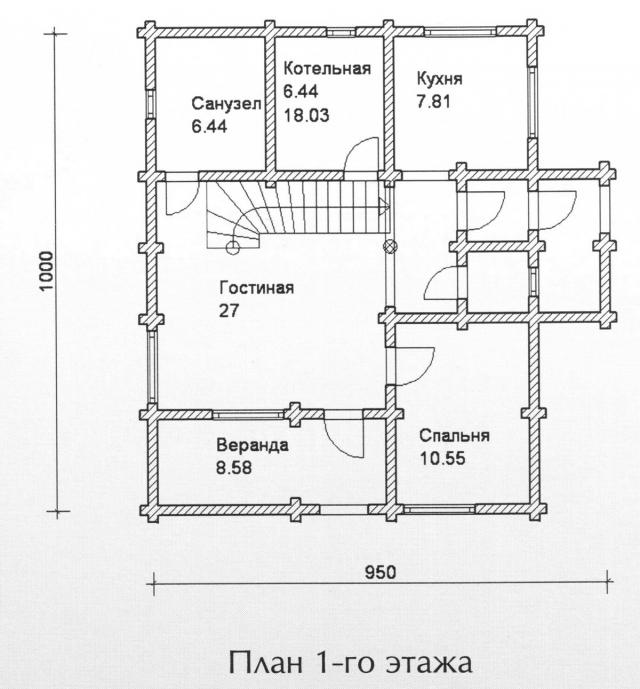 Схема проекта дома из оцилиндрованного бревна ДБ-106