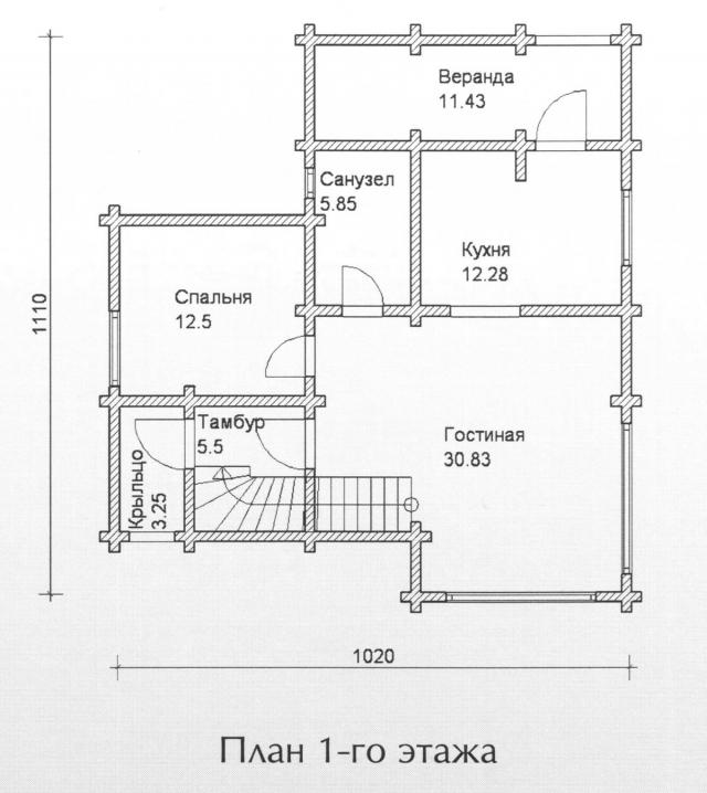 Схема проекта дома из оцилиндрованного бревна ДБ-107