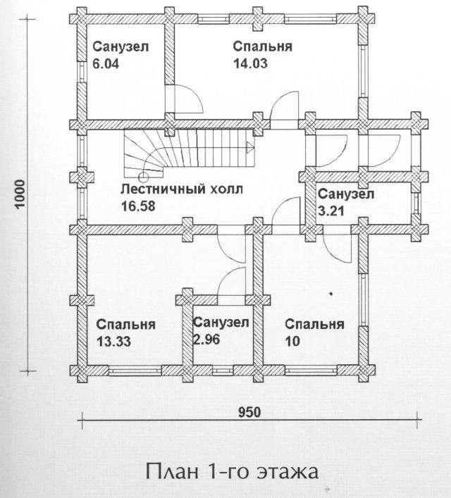 Схема проекта дома из оцилиндрованного бревна ДБ-108
