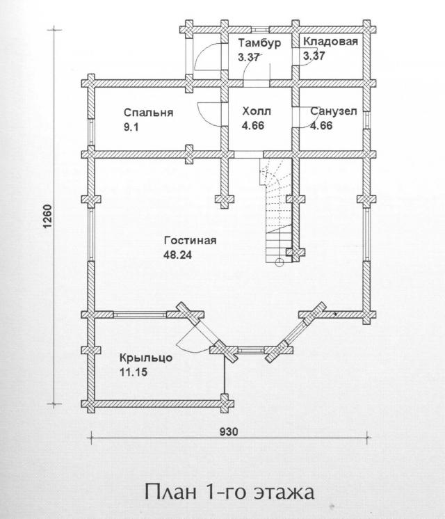 Схема проекта дома из оцилиндрованного бревна ДБ-109