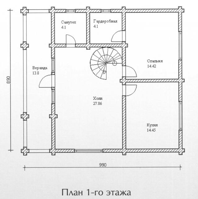 Схема проекта дома из оцилиндрованного бревна ДБ-110