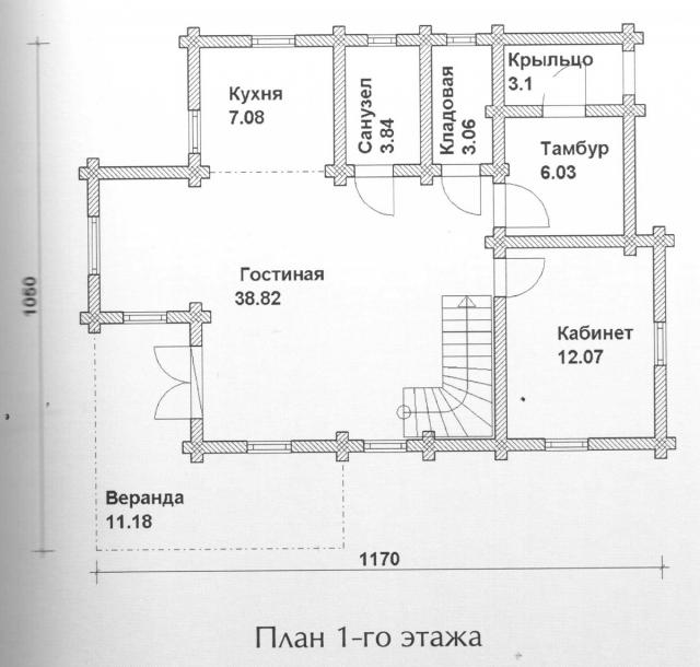 Схема проекта дома из оцилиндрованного бревна ДБ-111