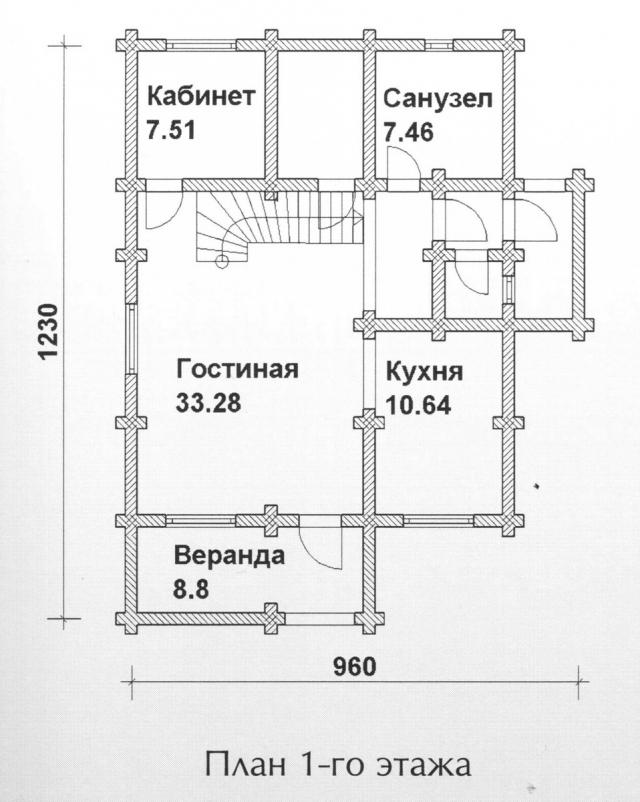 Схема проекта дома из оцилиндрованного бревна ДБ-112