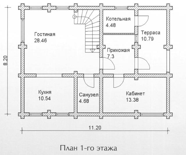 Схема проекта дома из оцилиндрованного бревна ДБ-113