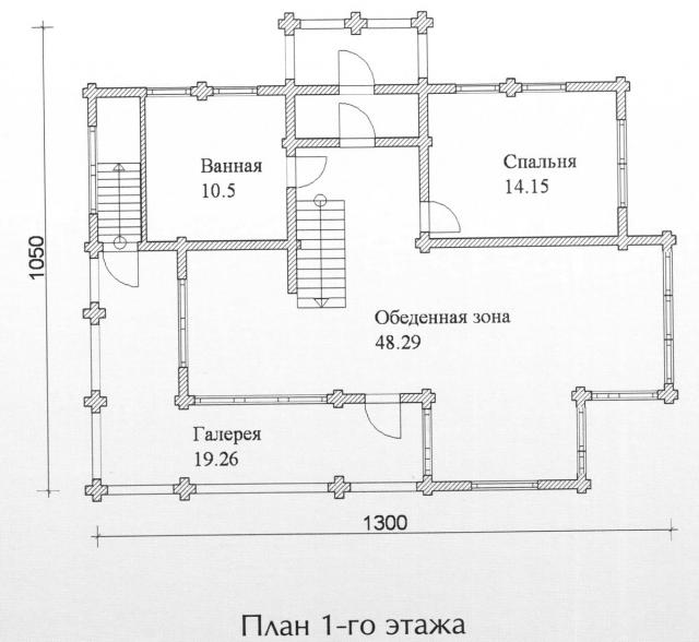 Схема проекта дома из оцилиндрованного бревна ДБ-114