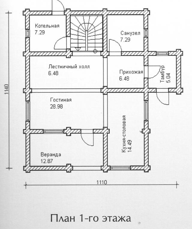Схема проекта дома из оцилиндрованного бревна ДБ-115