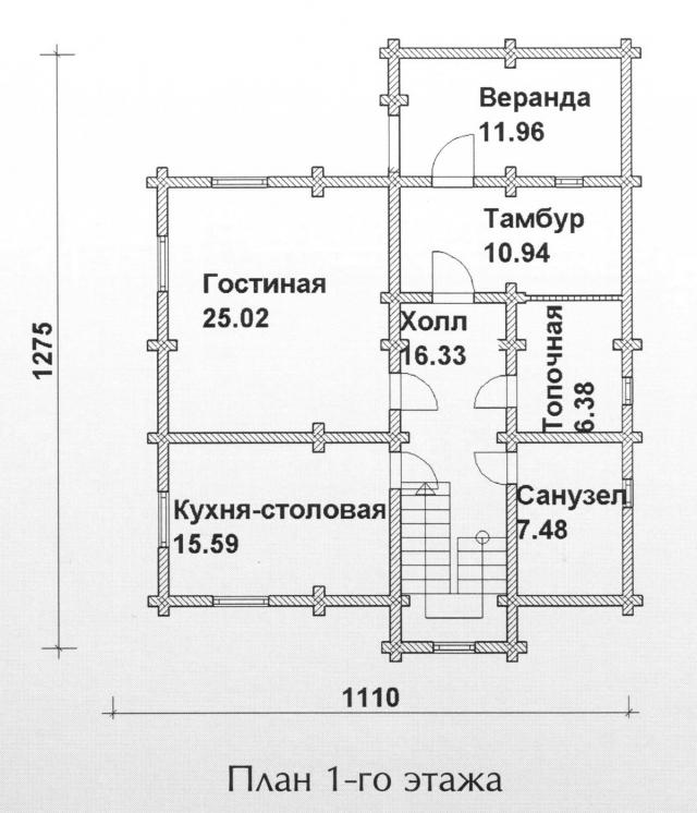 Схема проекта дома из оцилиндрованного бревна ДБ-116