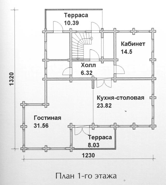 Схема проекта дома из оцилиндрованного бревна ДБ-118