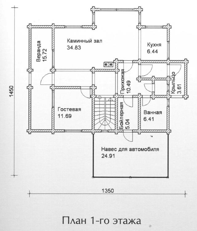Схема проекта дома из оцилиндрованного бревна ДБ-119
