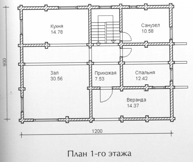 Схема проекта дома из оцилиндрованного бревна ДБ-120
