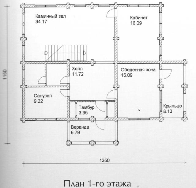Схема проекта дома из оцилиндрованного бревна ДБ-121