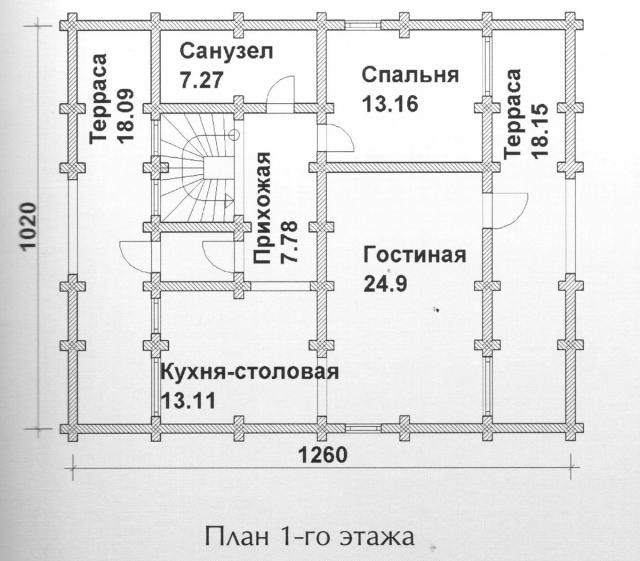 Схема проекта дома из оцилиндрованного бревна ДБ-122