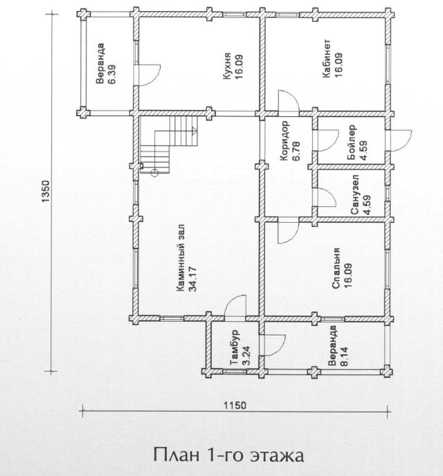 Схема проекта дома из оцилиндрованного бревна ДБ-123