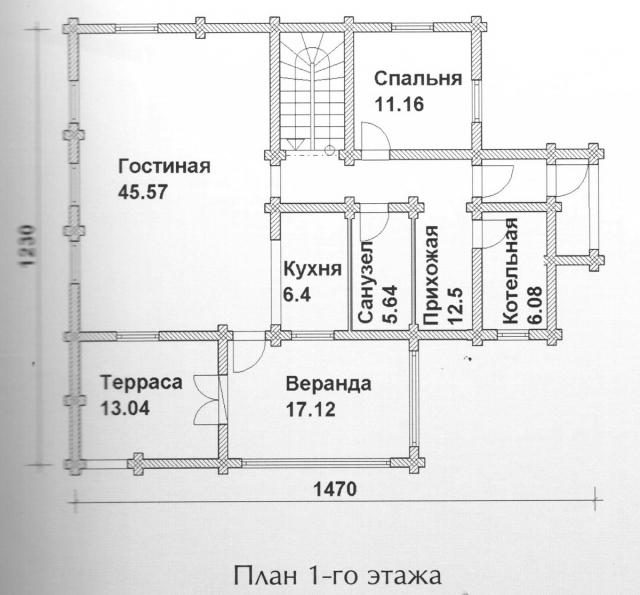 Схема проекта дома из оцилиндрованного бревна ДБ-125