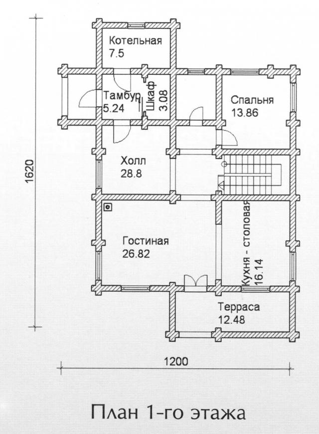 Схема проекта дома из оцилиндрованного бревна ДБ-126