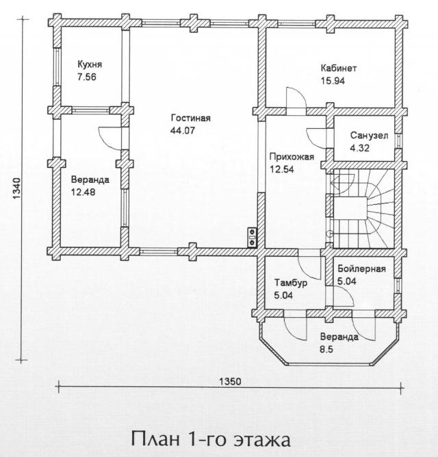 Схема проекта дома из оцилиндрованного бревна ДБ-127