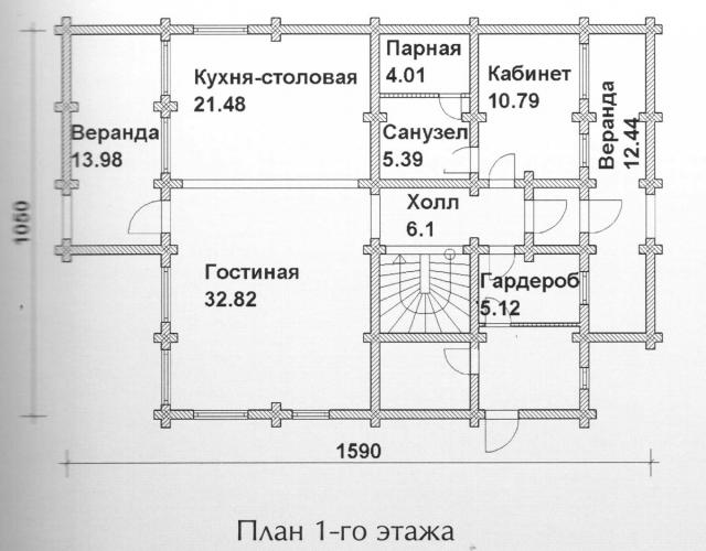 Схема проекта дома из оцилиндрованного бревна ДБ-128