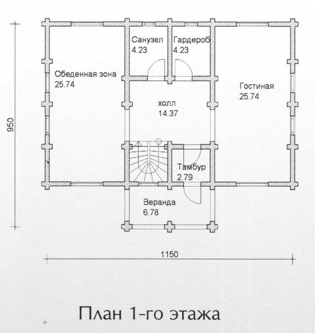 Схема проекта дома из оцилиндрованного бревна ДБ-129