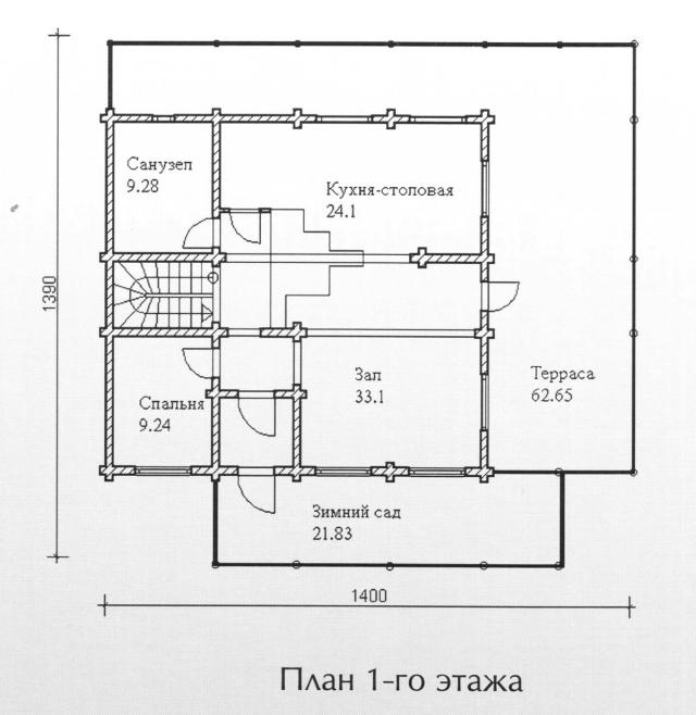 Схема проекта дома из оцилиндрованного бревна ДБ-130