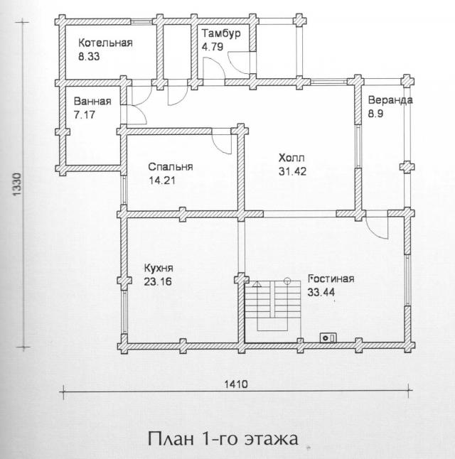 Схема проекта дома из оцилиндрованного бревна ДБ-131