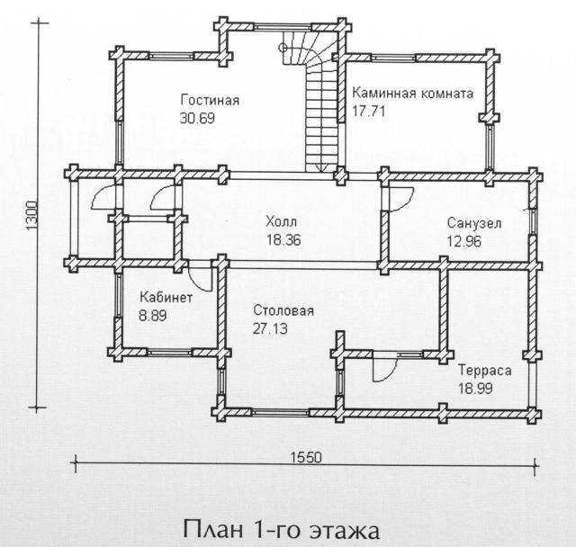 Схема проекта дома из оцилиндрованного бревна ДБ-132
