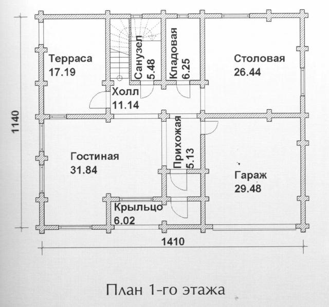 Схема проекта дома из оцилиндрованного бревна ДБ-133