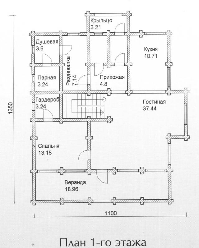 Схема проекта дома из оцилиндрованного бревна ДБ-134