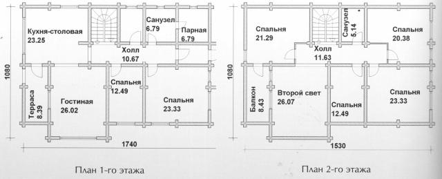 Схема проекта дома из оцилиндрованного бревна ДБ-135