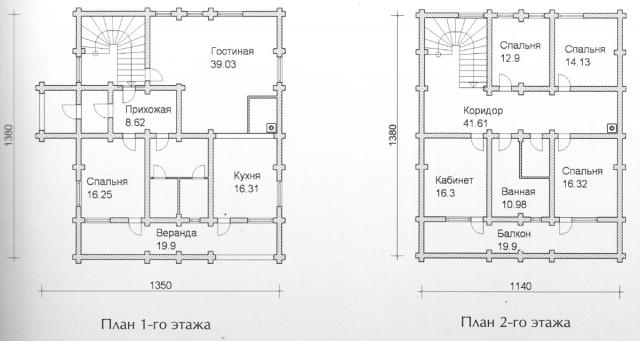 Схема проекта дома из оцилиндрованного бревна ДБ-136