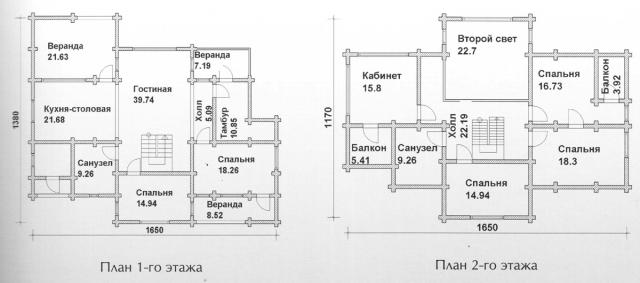 Схема проекта дома из оцилиндрованного бревна ДБ-137