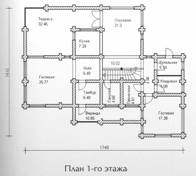 Схема проекта дома из оцилиндрованного бревна ДБ-138